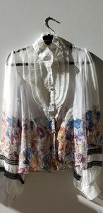 Sheer long sleeve floral and lace blouse